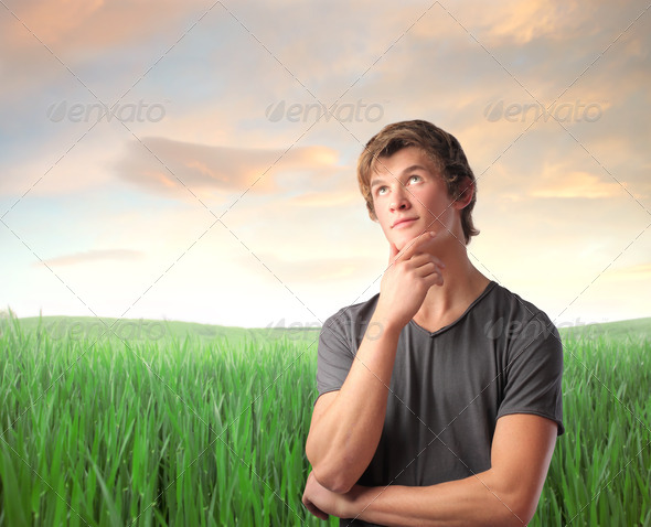 Think in a Field - Stock Photo - Images