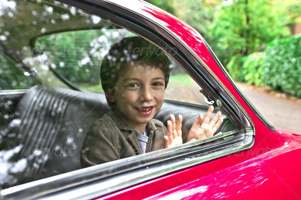 Child in a Car - Stock Photo - Images