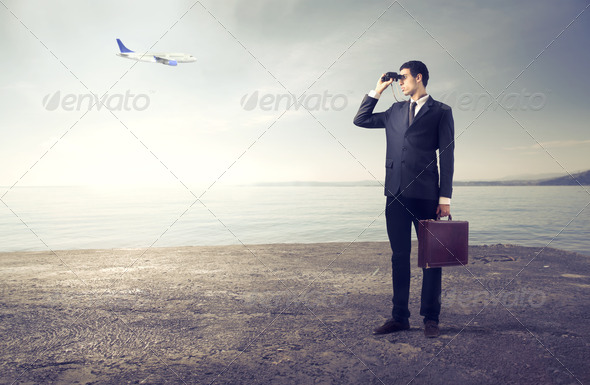 Searching Businessman - Stock Photo - Images