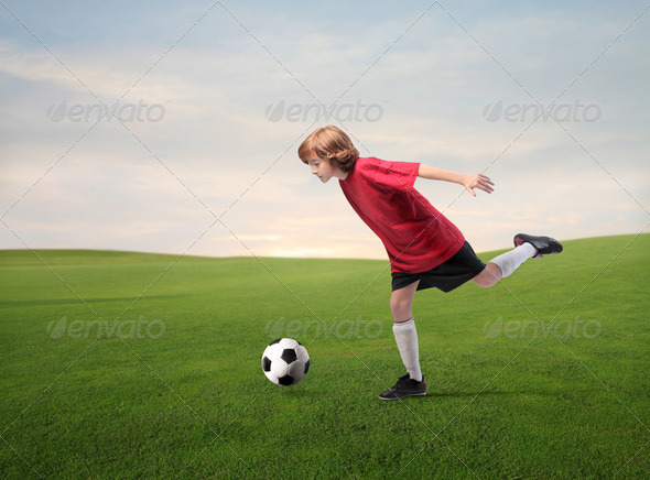 Red Soccer Player - Stock Photo - Images