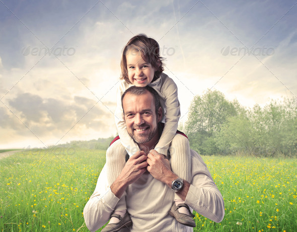 Baby and Dad in the Nature - Stock Photo - Images