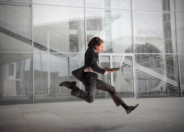 Businessman Running - Stock Photo - Images
