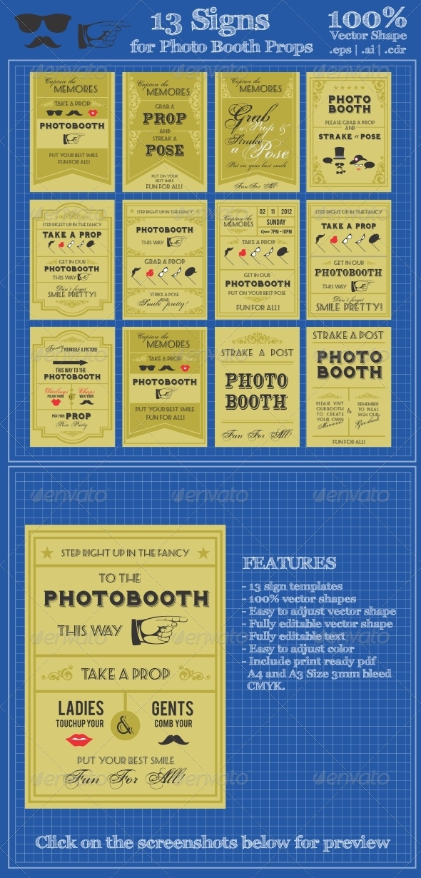 13 Sign Template For Photo Booth Props - Miscellaneous Vectors