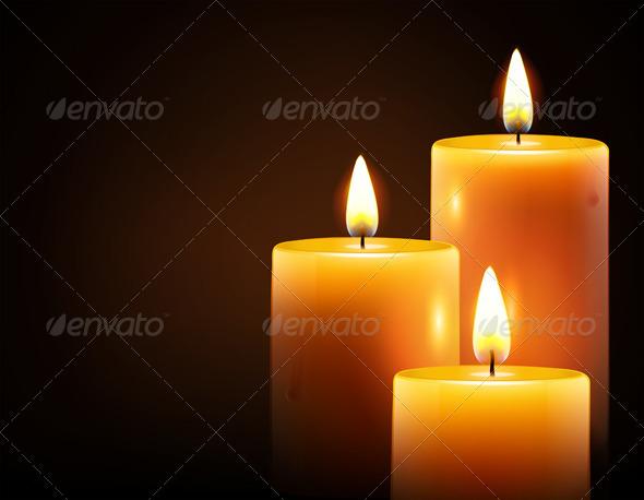 Three candles  - Decorative Vectors