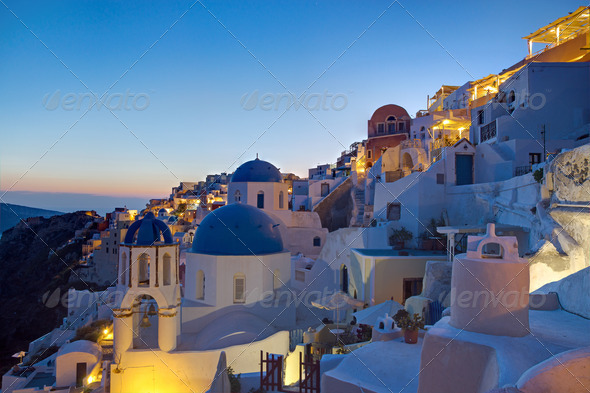 Oia village at dawn  - Stock Photo - Images