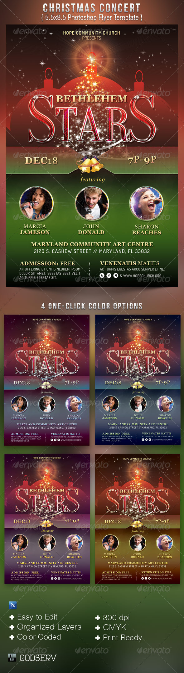 Christmas Concert Flyer Template - Church Flyers