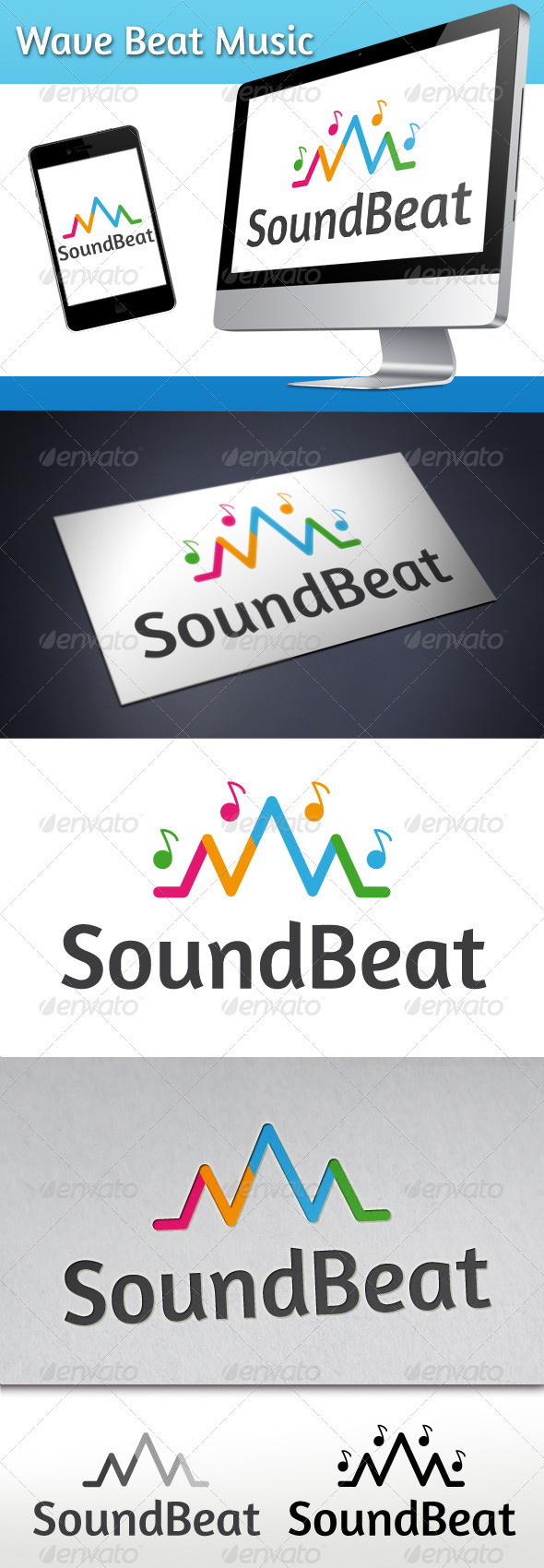Wave Beat Music Logo - Symbols Logo Templates