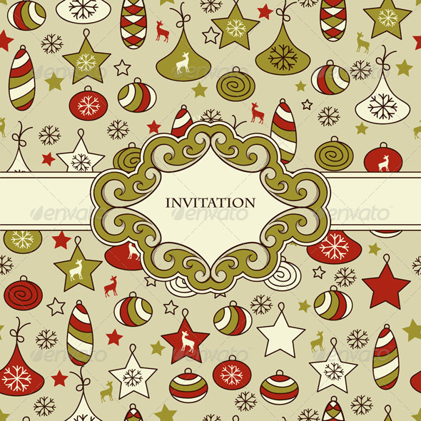 Vector Seamless Christmas Pattern with Frame - Patterns Decorative