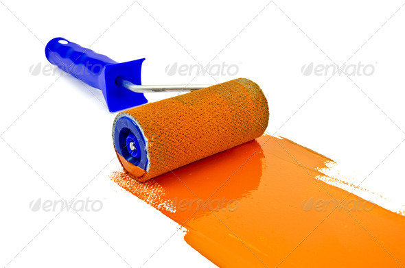 Roller with orange paint - Stock Photo - Images