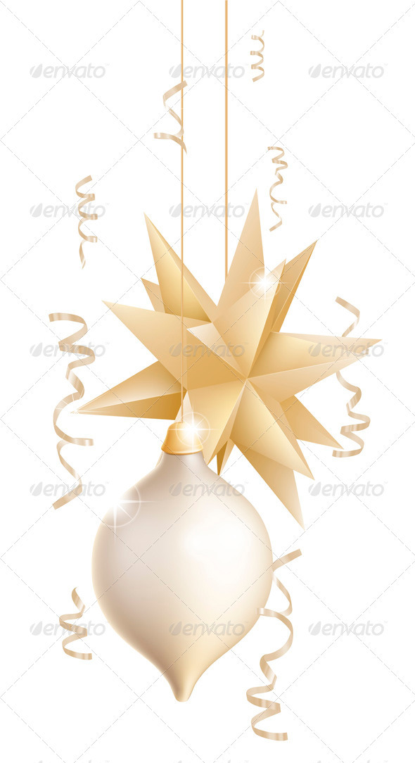 Beautiful gold and white Christmas baubles - Christmas Seasons/Holidays