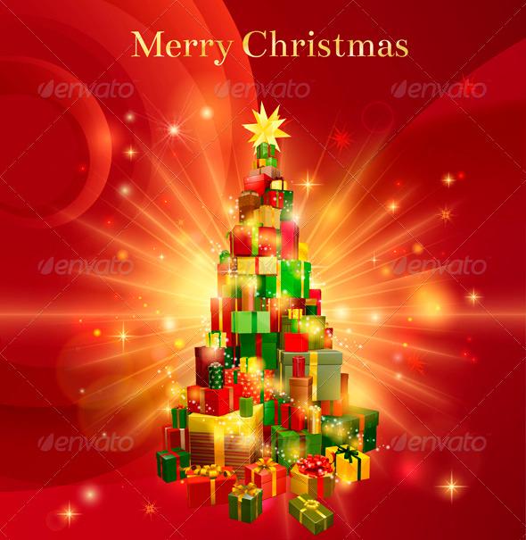 Red Merry Christmas Gift Tree Design - Christmas Seasons/Holidays
