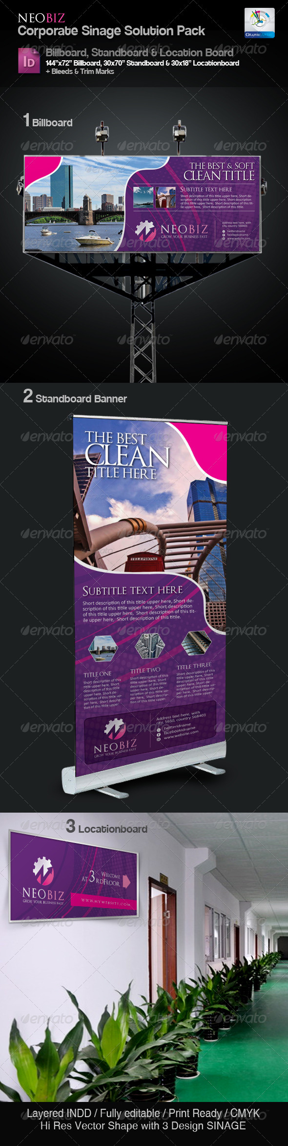 NeoBiz Clean Sinage Solution Pack - Signage Print Templates