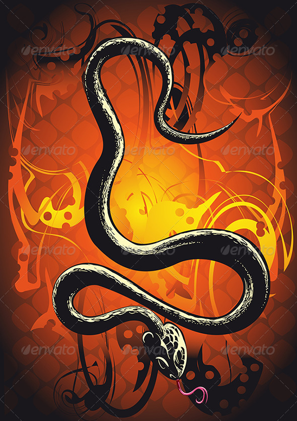 Black Snake in Orange - Animals Characters