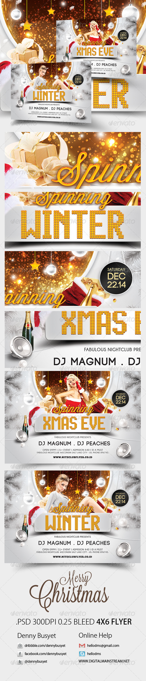 Spinning Winter And Xmas Party Flyer Template - Events Flyers