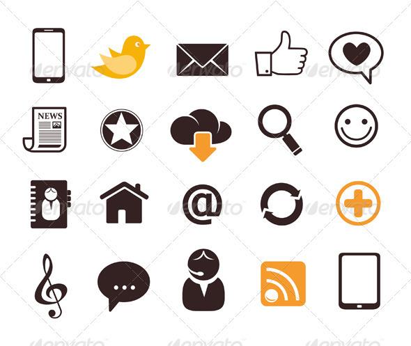 Internet Communication Icon Set - Communications Technology