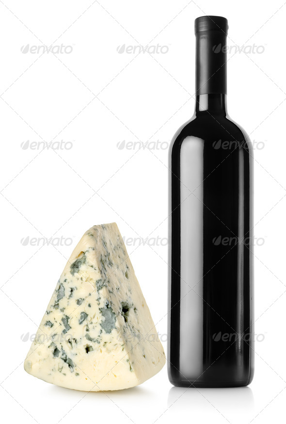 Bottle of red wine and blue cheese - Stock Photo - Images