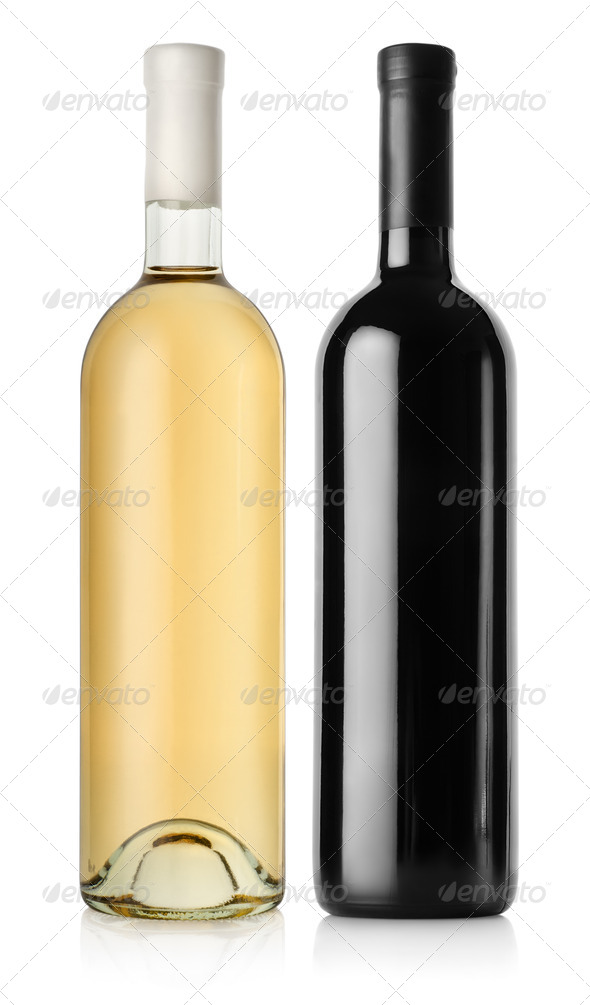 Bottle of red wine and white wine - Stock Photo - Images
