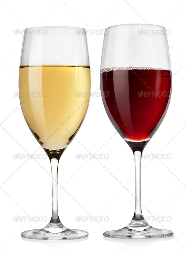 Red wine glass and white wine glass - Stock Photo - Images