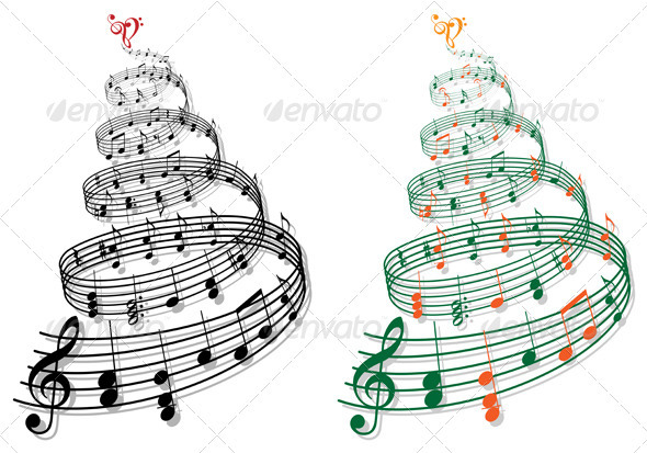 Christmas Tree With Music Notes, Vector - Decorative Symbols Decorative