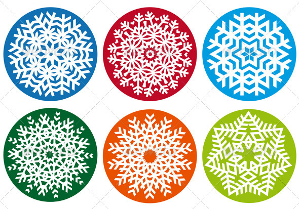 Snowflake Set, Vector Design Elements - Christmas Seasons/Holidays