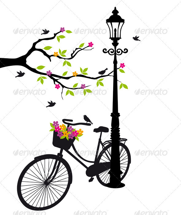 Bicycle With Flowers And Tree, Vector  - Sports/Activity Conceptual