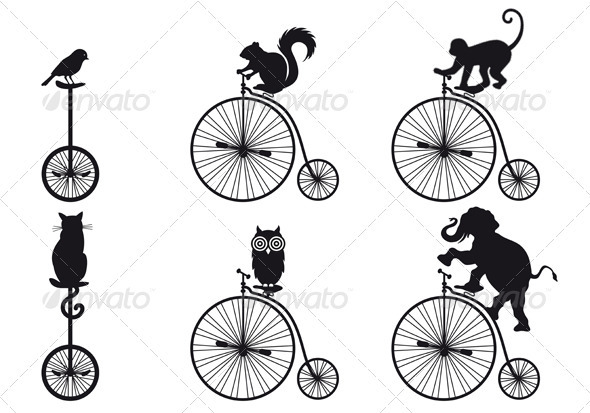 Old Bicycle With Animals, Vector - Sports/Activity Conceptual