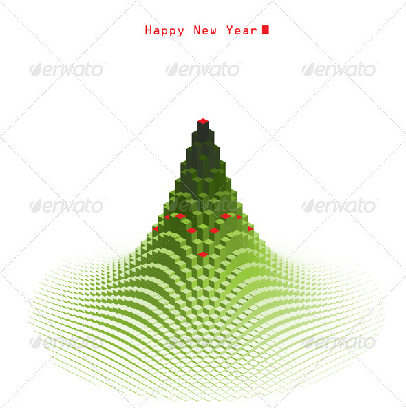 Merry Christmas Green Tree Design - Christmas Seasons/Holidays