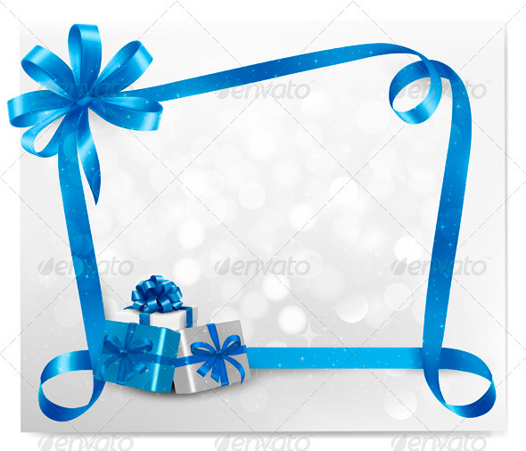 Holiday background with blue gift bow  - Christmas Seasons/Holidays