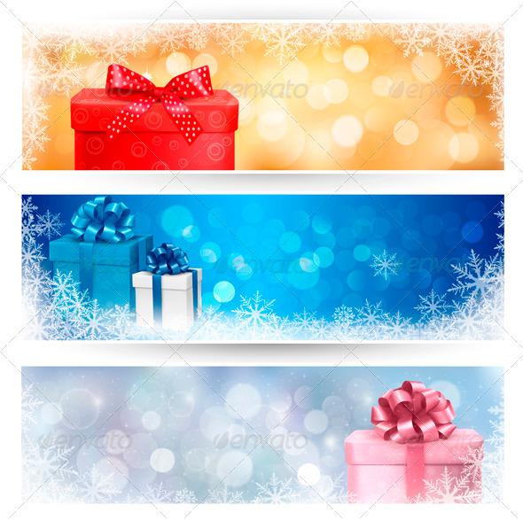 Set of winter christmas banners illustration - Christmas Seasons/Holidays