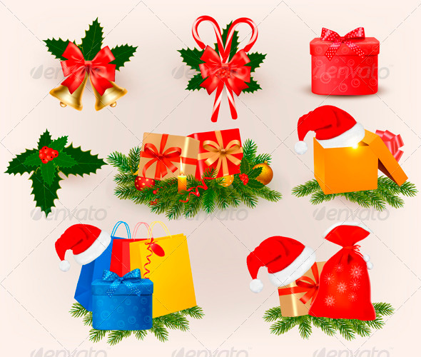 Set of christmas icons and elements  Vector - Christmas Seasons/Holidays