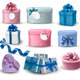 Set of colorful gift boxes with bows and ribbons - GraphicRiver Item for Sale
