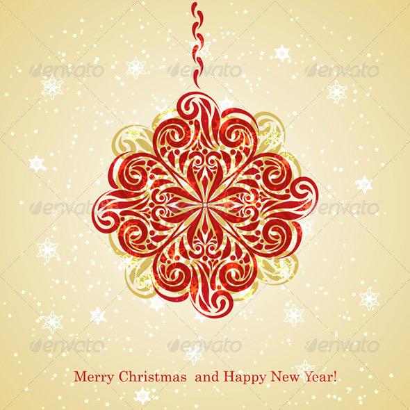 Vector Christmas Greeting Card with Fir Tree Ball - Seasons/Holidays Conceptual