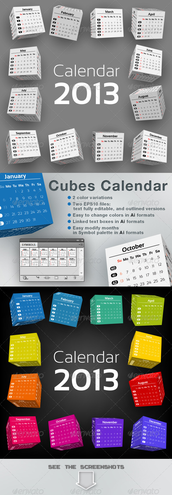 3D-Cubes Calendar 2013 - Abstract Conceptual