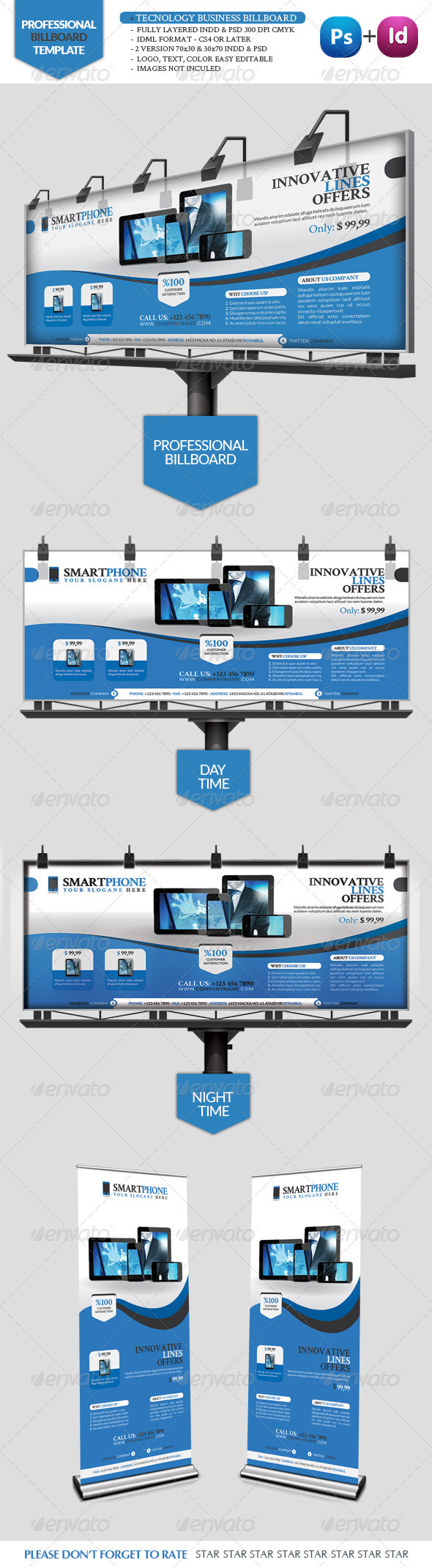 Tecnology Business Billboard - Signage Print Templates