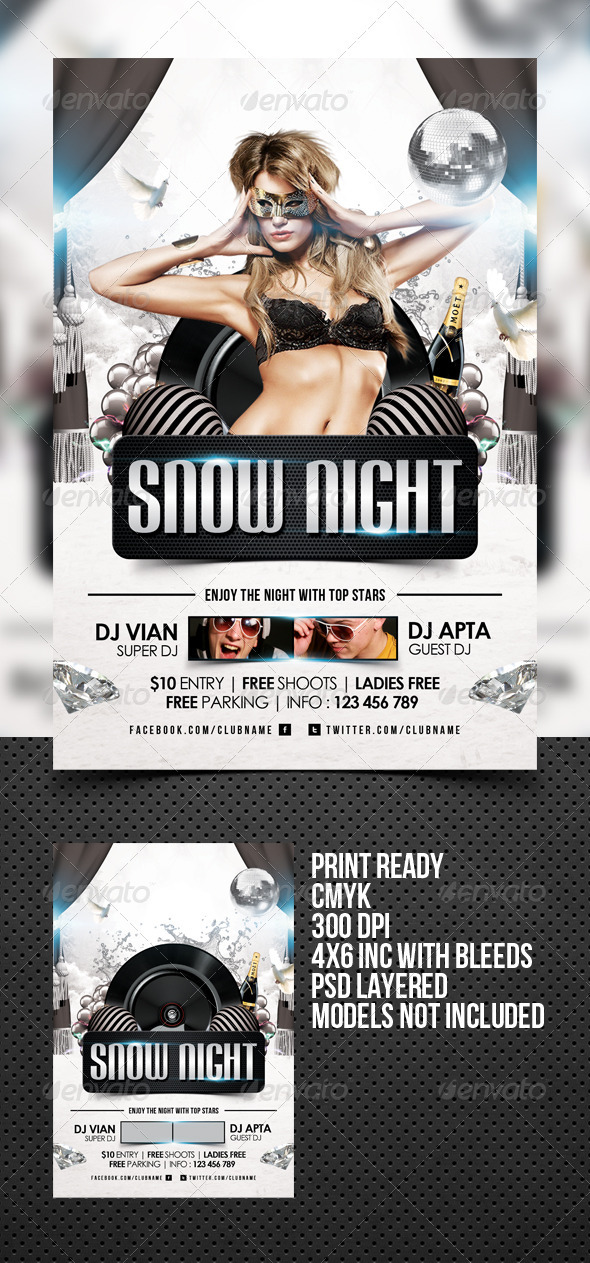 Snow Night Flyer Template - Clubs & Parties Events