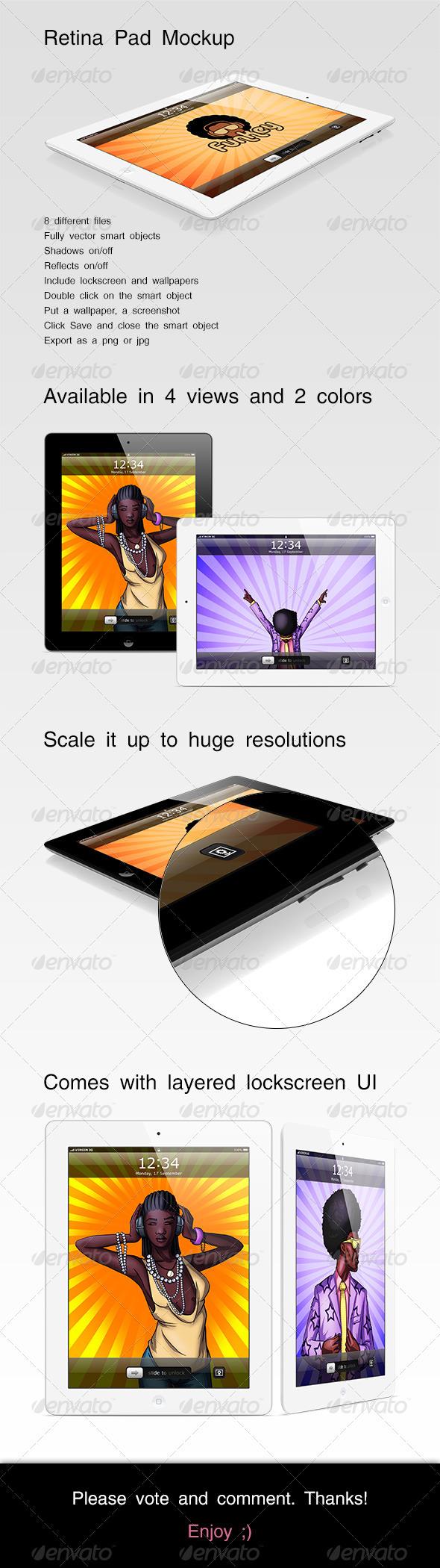 Retina Pad Mockup - Mobile Displays