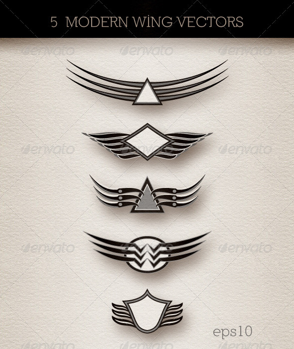 Wings Insignia; Modern Abstract Style - Abstract Conceptual