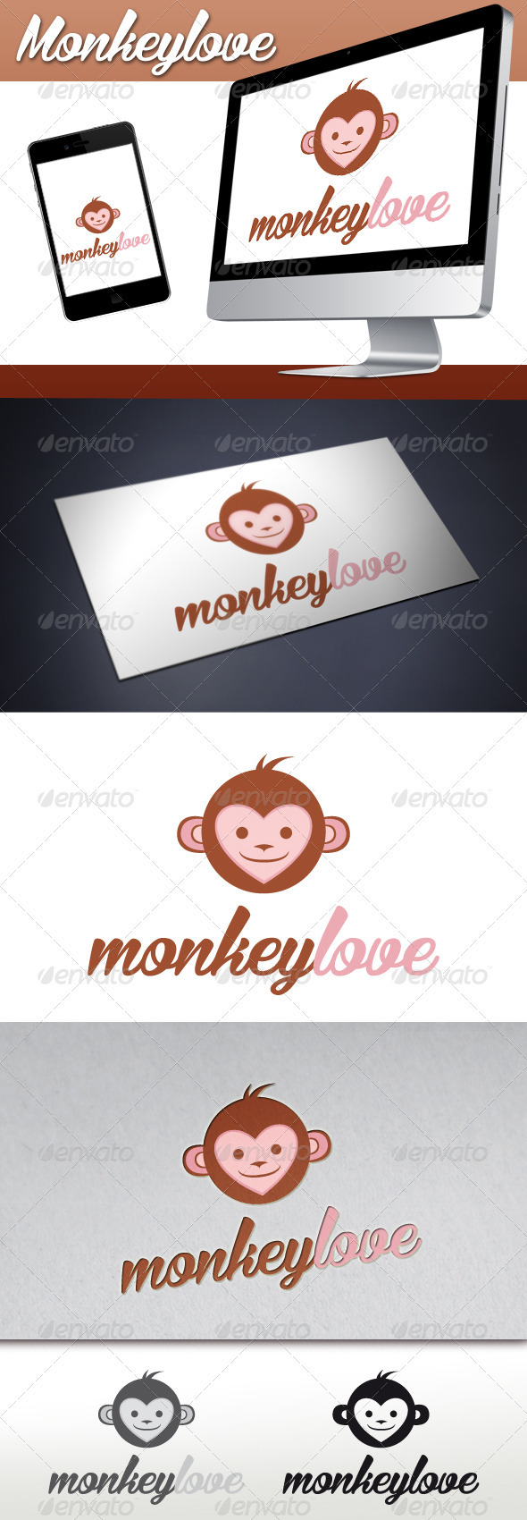Monkey Love Mascot Logo - Animals Logo Templates
