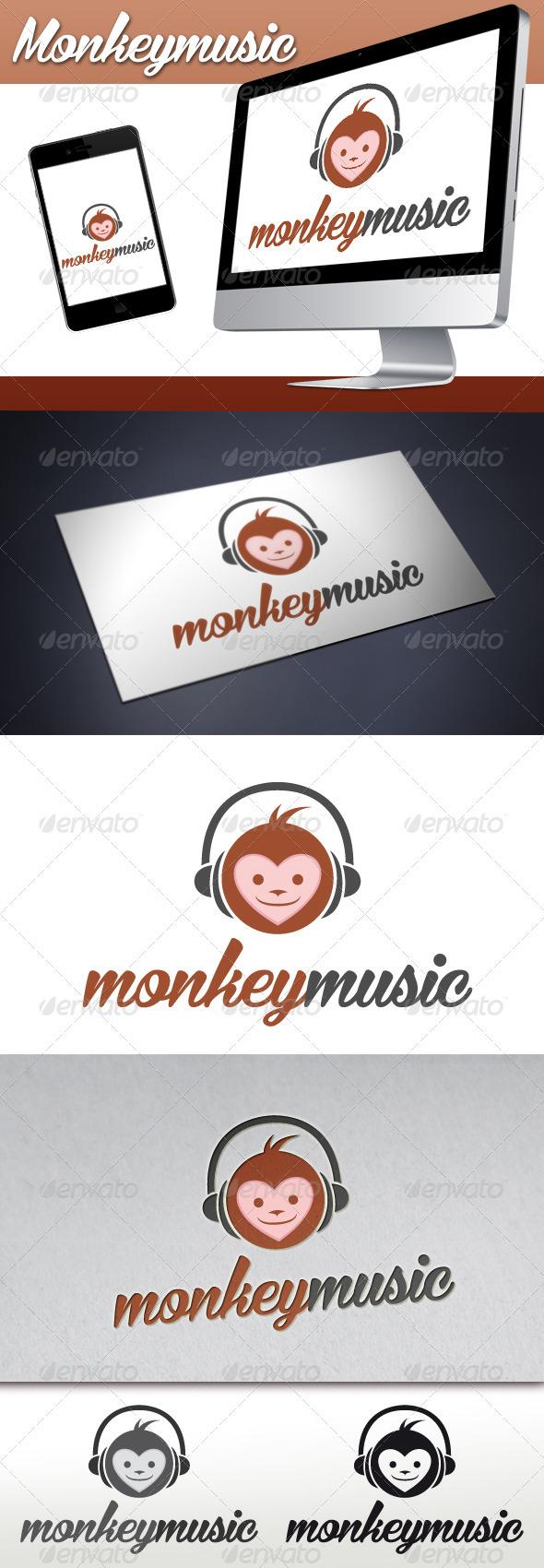 Monkey Music Mascot Logo - Animals Logo Templates
