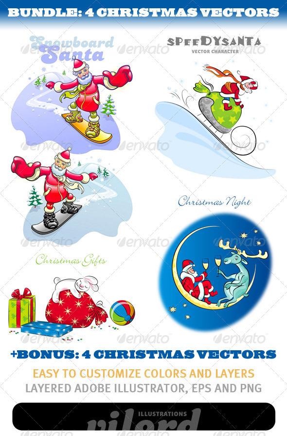 Christmas Mascots Bundle - Characters Vectors