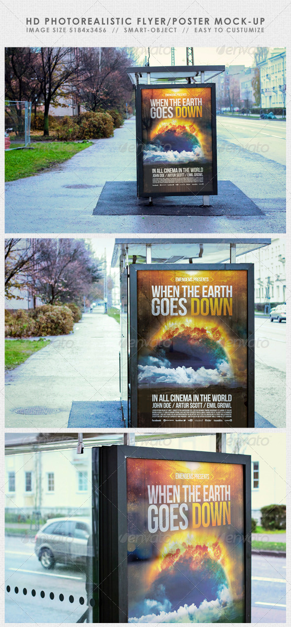 HD Realistic Flyer/Poster Mock-Up - Signage Print
