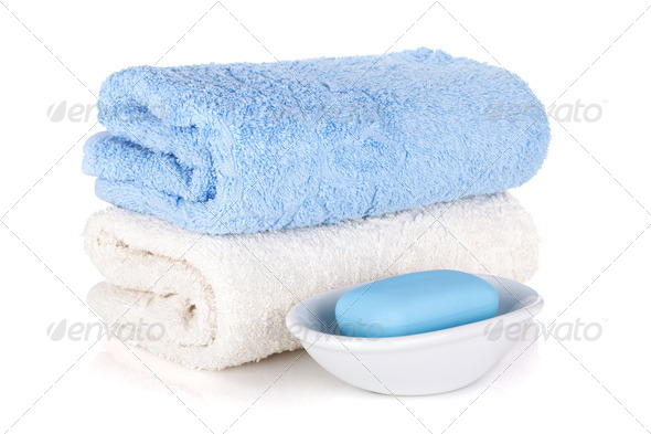 Soap and two towels - Stock Photo - Images