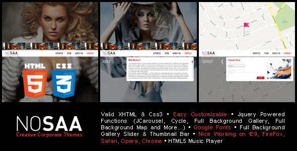 Nosaa Full Page Slider Creative Template - Creative Site Templates