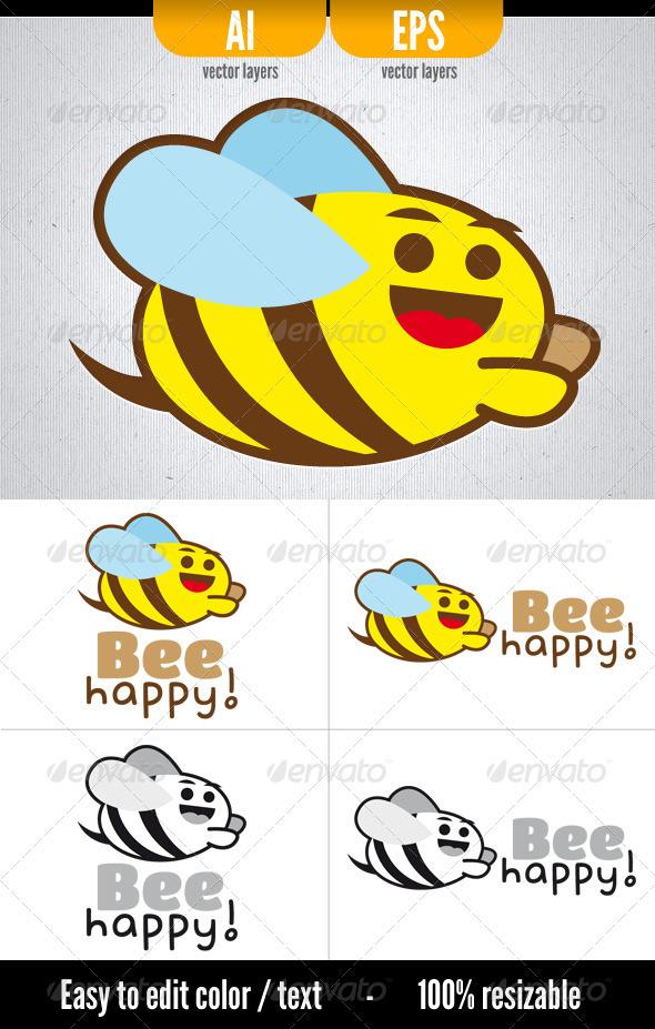 Bee Happy! - Animals Logo Templates