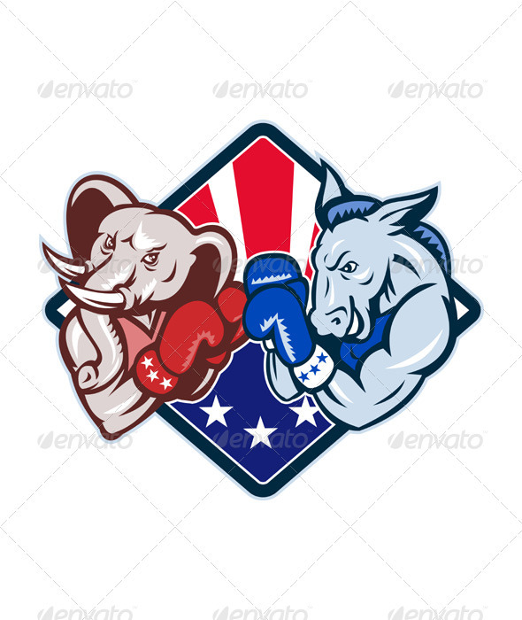 Democrat Donkey Republican Elephant Mascot Boxing  - Animals Characters
