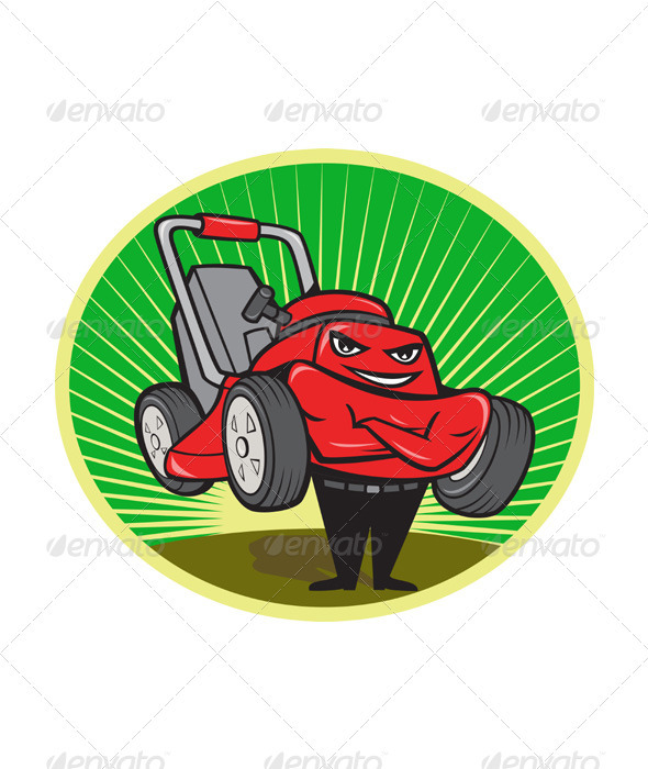 Lawn Mower Man Cartoon Oval  - Miscellaneous Vectors