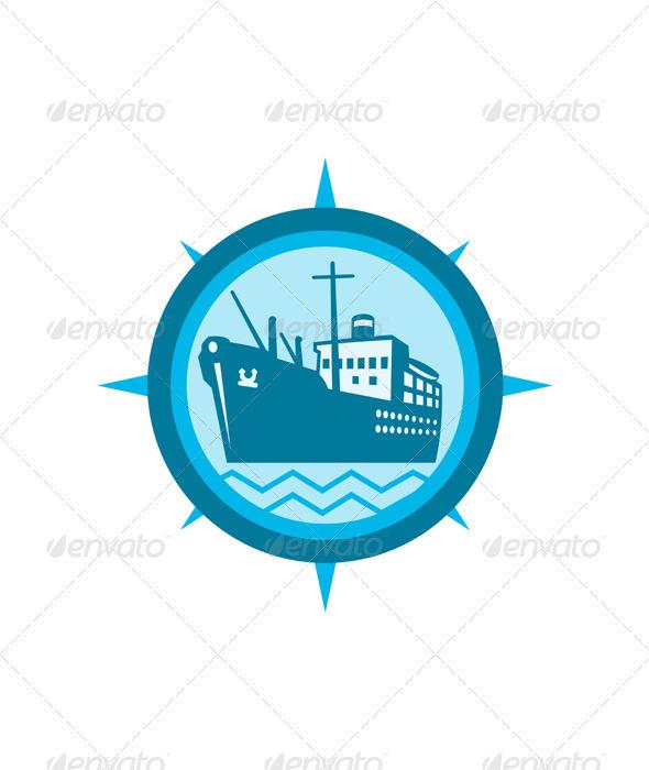Passenger Ship Cargo Boat Retro - Travel Conceptual