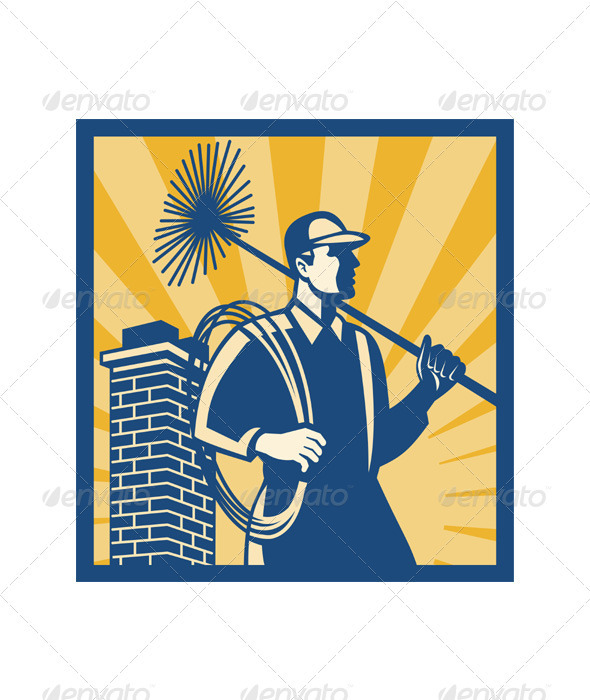 Chimney Sweeper Cleaner Worker Retro  - People Characters
