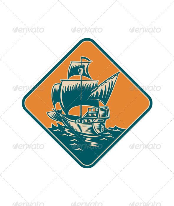 Tall Sailing Ship Retro Woodcut  - Travel Conceptual