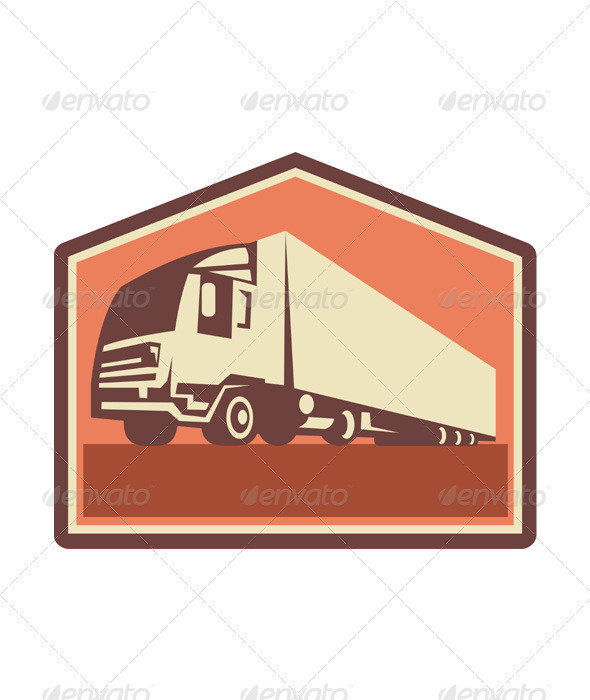 Container Truck and Trailer Flames Retro  - Miscellaneous Vectors